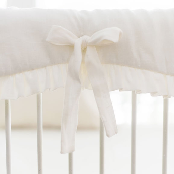 Washed Linen in Ivory Crib Rail Cover with Ruffle
