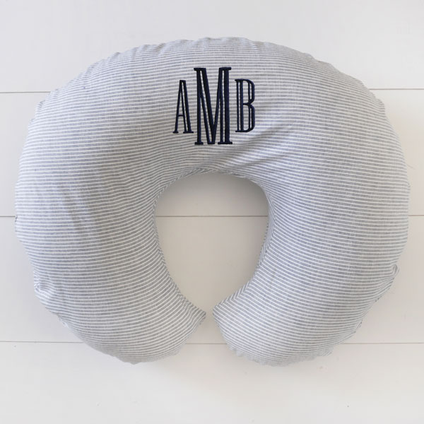 Nursing Pillow Slipcover | Washed Linen Indigo Stripe
