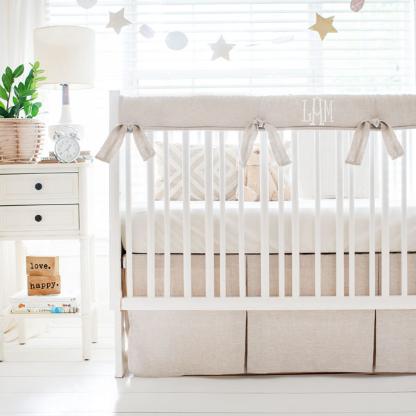 Linen Neutral Nursery Bedding Oatmeal, Baby Cot Bedding Accessories
