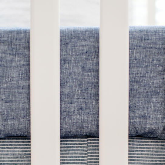 Linen Crib Sheet | Washed Linen Indigo Stripe Collection