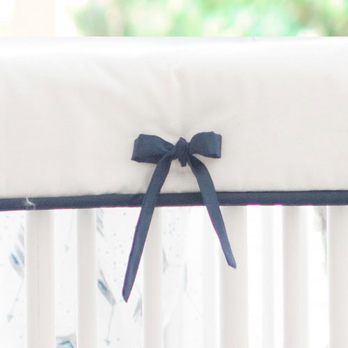 White and Navy Crib Rail Cover | Aim High Collection