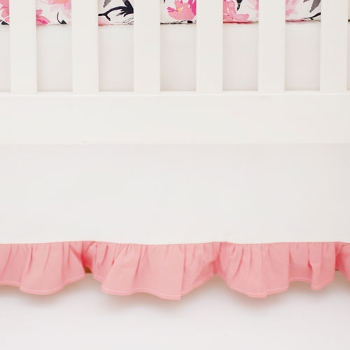 Ruffled Crib Skirt | Rosewater in Coral Collection