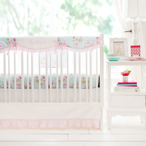 Floral Crib Rail Cover Set | Wild Bouquet in Aqua Collection