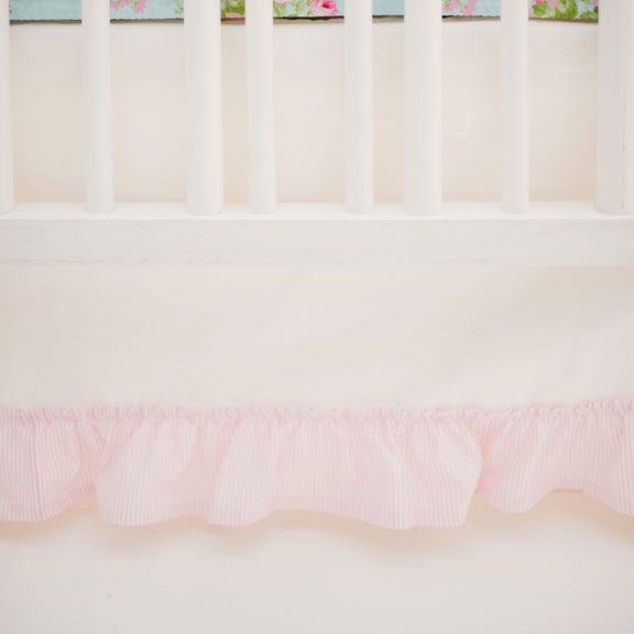 White Nursery Skirt with Pink Ruffle | Wild Bouquet in Aqua Crib Collection