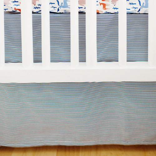 Navy Stripe Crib Skirt | Ahoy Matey & Blue Moon Bedding Collections