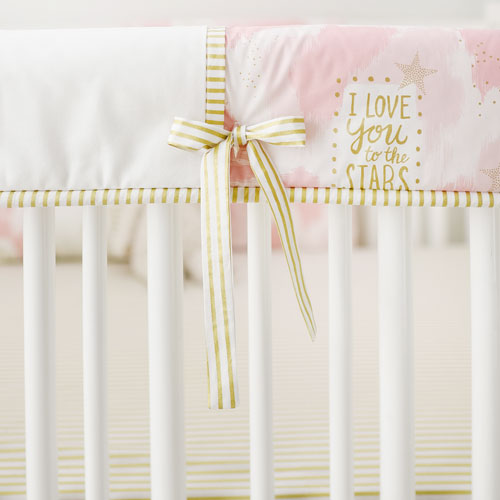 Pink & Gold Crib Rail Guard Cover Only | You are Magic in Pink Crib Collection