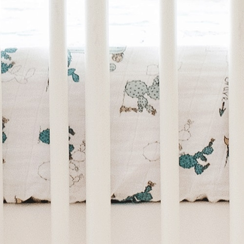 Cactus Muslin Crib Sheet | Young & Brave Crib Collection