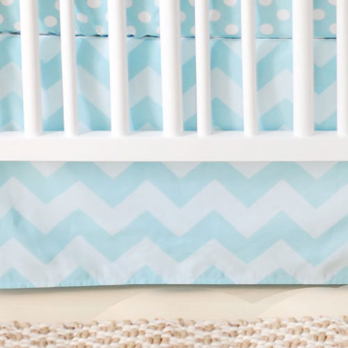 Aqua Chevron Nursery Skirt | Zig Zag Baby in Aqua Collection