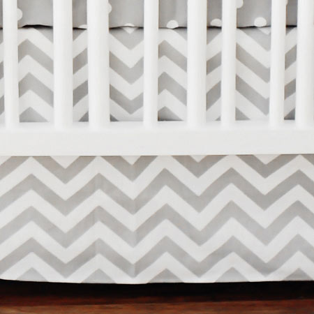 Chevron Gray Nursery Skirt | Zig Zag Baby Bedding Collection