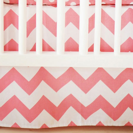 Pink Crib Skirt | Zig Zag Baby in Hot Pink Crib Collection