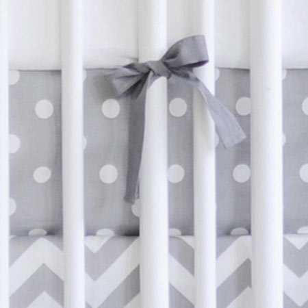 Cotton Polka Dot Crib Sheet | Zig Zag in Gray Collection