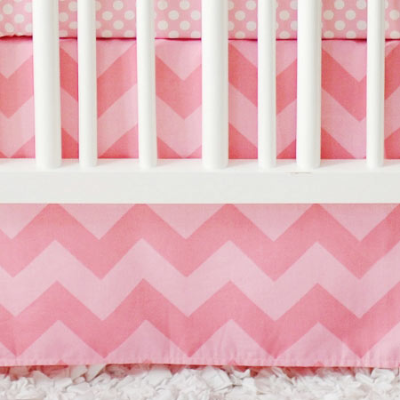Pink Chevron Crib Skirt | Zig Zag Baby in Pink Sugar Crib Collection