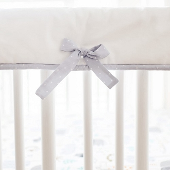 Gray and White Nursery Rail Guard | Saltwater Friends and Zoo Escape Crib Collections