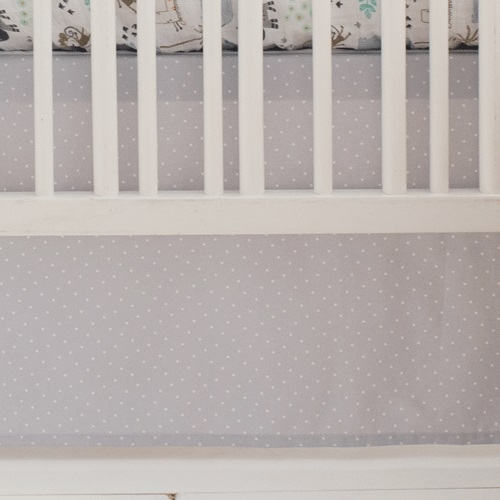 Gray Polka Dot Nursery Skirt | Zoo Escape & Saltwater Friends Crib Collections