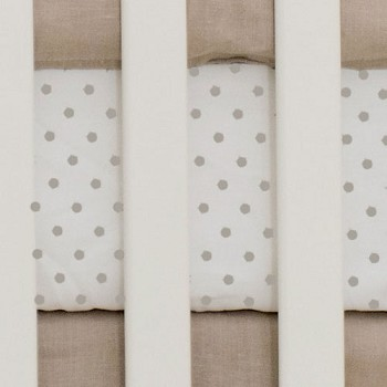 Khaki and White Polka Dot Baby Sheet | Washed Linen in Flax Collection