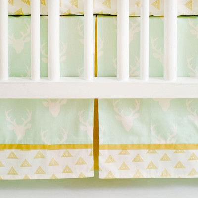 Deer Crib Skirt | Buck Forest in Mint Collection