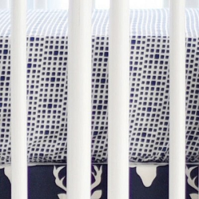 Navy Crib Sheet | Buck Forest in Twilight Baby Bedding Deer Collection