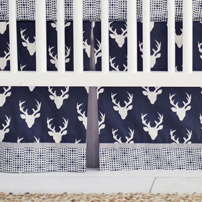 Navy Blue Crib Skirt | Buck Forest in Twilight Deer Collection