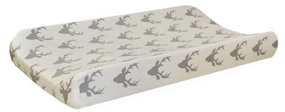 Gray Deer Changing Pad Cover | Buck Forest in Silver Crib Collection
