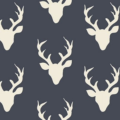 Deer Fabric in Navy | Buck Forest Twilight