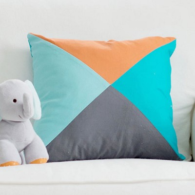 Square Color Block Pillow Aqua Orange Gray | Dalmatian Spots Crib Collection