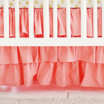 Coral Crib Skirt 3 Tier Ruffle
