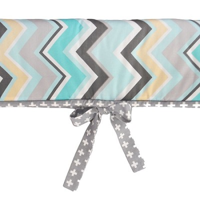 Gray and Aqua Chevron Crib Rail Cover