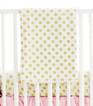 Gold Polka Dot Baby Blanket