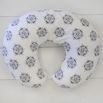 Navy Flower Nursing Pillow Slipcover | Pink Crib Collection