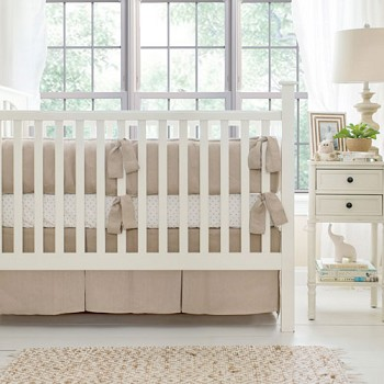 Neutral Nursery Linen Bedding | Washed Linen in Flax Crib Collection