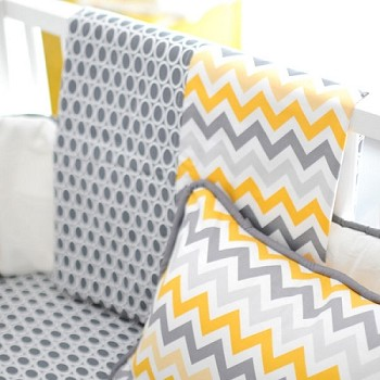 Yellow and Gray Chevron Crib Blanket | Mellow Yellow Crib Collection