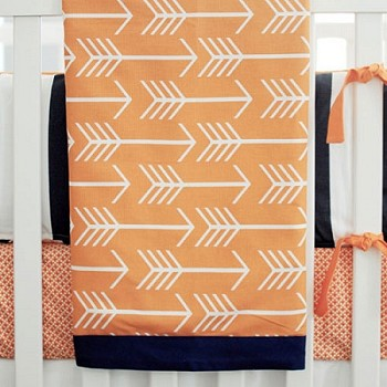 Orange and Navy Arrow Baby Blanket | Out and About Crib Collection