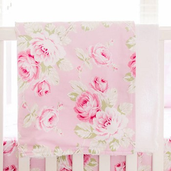 Pink Floral Faux Fur Baby Blanket | Pink Desert Rose Baby Bedding Collection