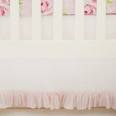 White Linen Crib Skirt with Pink Stripe Ruffle | Pink Desert Rose Collection