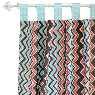 Orange and Aqua Chevron Curtains | Piper in Aqua Crib Collection