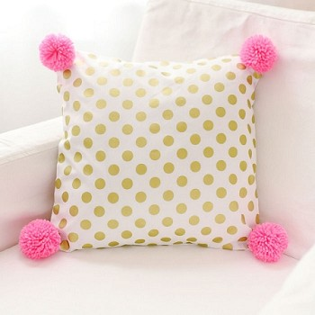 Gold Polka Dot Pillow with Hot Pink Pom Poms