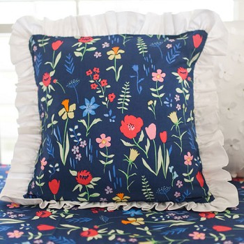 Navy Floral Pillow | Poppyfield Crib Collection