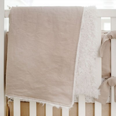 Washed Linen in Flax Baby Blanket