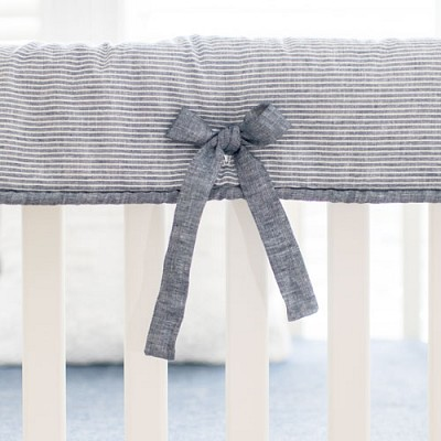 Navy Linen Crib Rail Cover | Washed Linen Indigo Stripe Collection