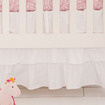 White Ruffled Crib Skirt | White Crib Collection