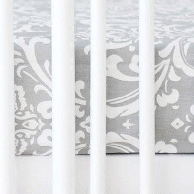 Gray Damask Crib Sheet