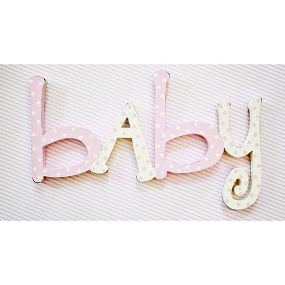 Nursery Pink Wood Wall Word Sign - Baby