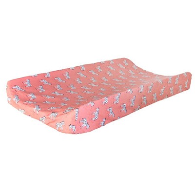Coral Animal Print Changing Pad Cover  |  Zebra Parade in Coral Crib Collection
