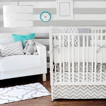 Neutral Chevron Nursery Bedding | Zig Zag Baby in Gray Collection