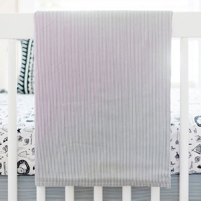 Charcoal Stripe Baby Blanket | Adventure Awaits Collection