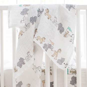 Muslin Swaddle Baby Blanket | Animal Parade Collection