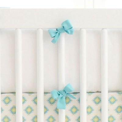Aqua and White Bumper | Aztec Baby in Aqua Collection