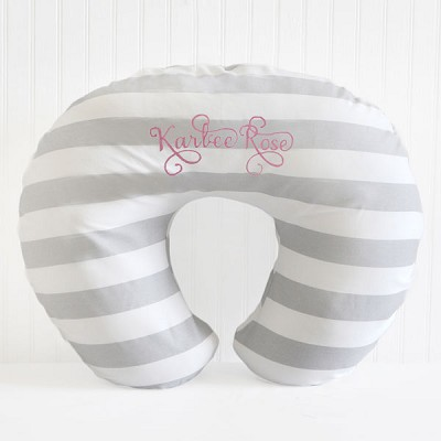 Gray Stripe Pillow Nursing Slipcover
