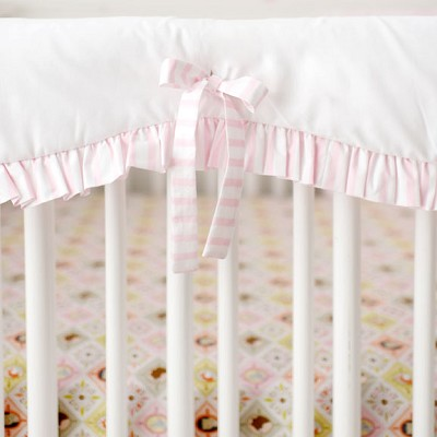White and Pink Crib Rail Cover with Ruffle | Born Wild in Pink Bedding Collection