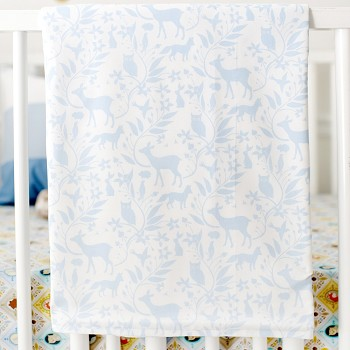 Blue Woodland Baby Blanket | Born Wild in Blue Crib Collection